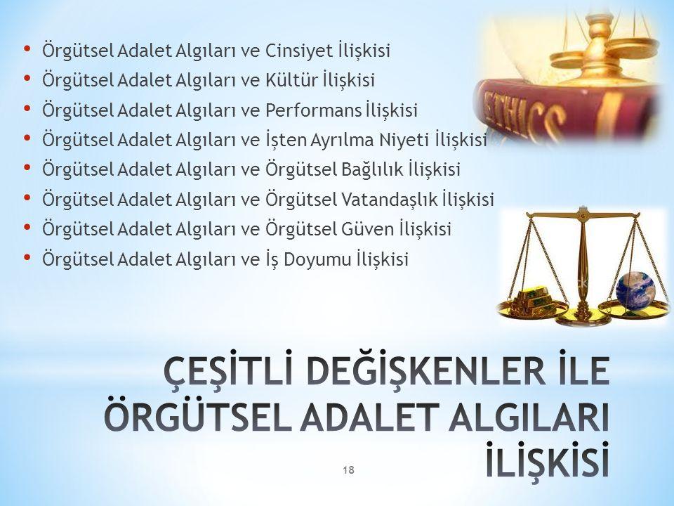 ÇEŞİTLİ DEĞİŞKENLER İLE ÖRGÜTSEL ADALET ALGILARI İLİŞKİSİ