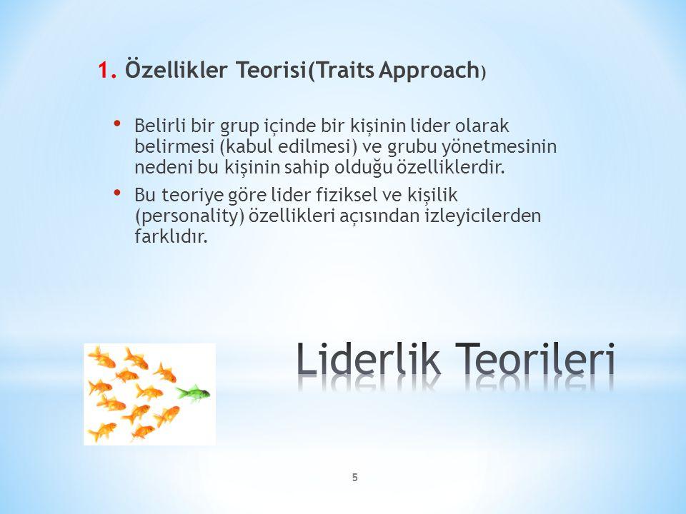 Liderlik Teorileri 1. Özellikler Teorisi(Traits Approach)