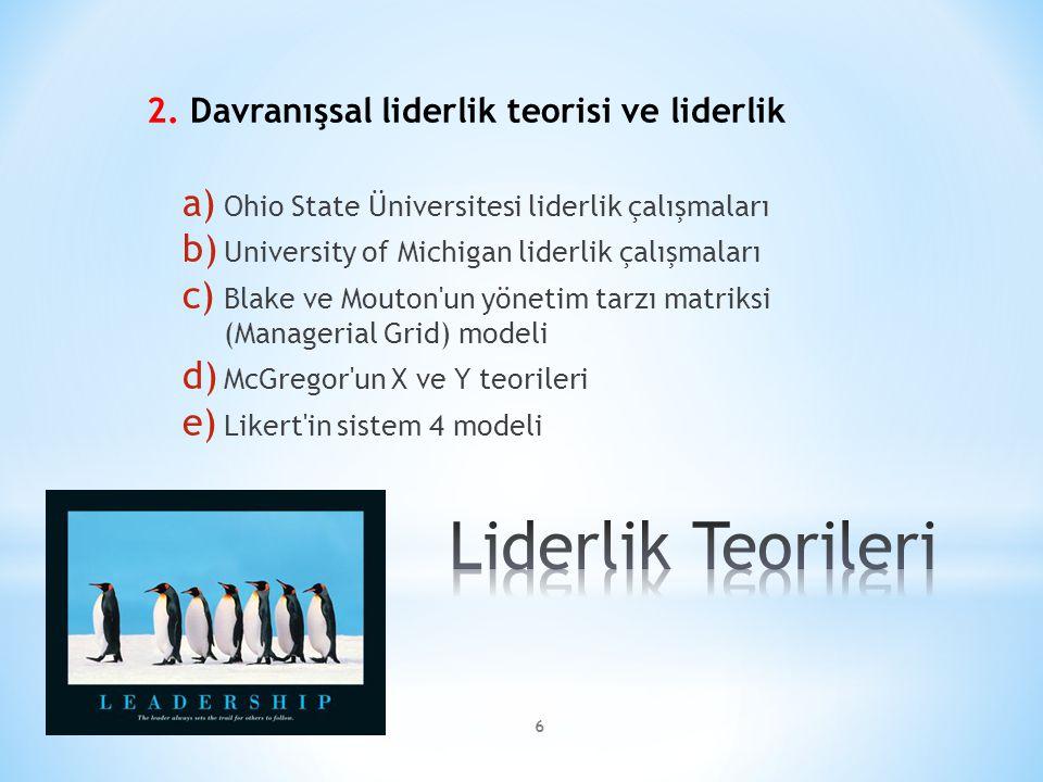 Liderlik Teorileri 2. Davranışsal liderlik teorisi ve liderlik