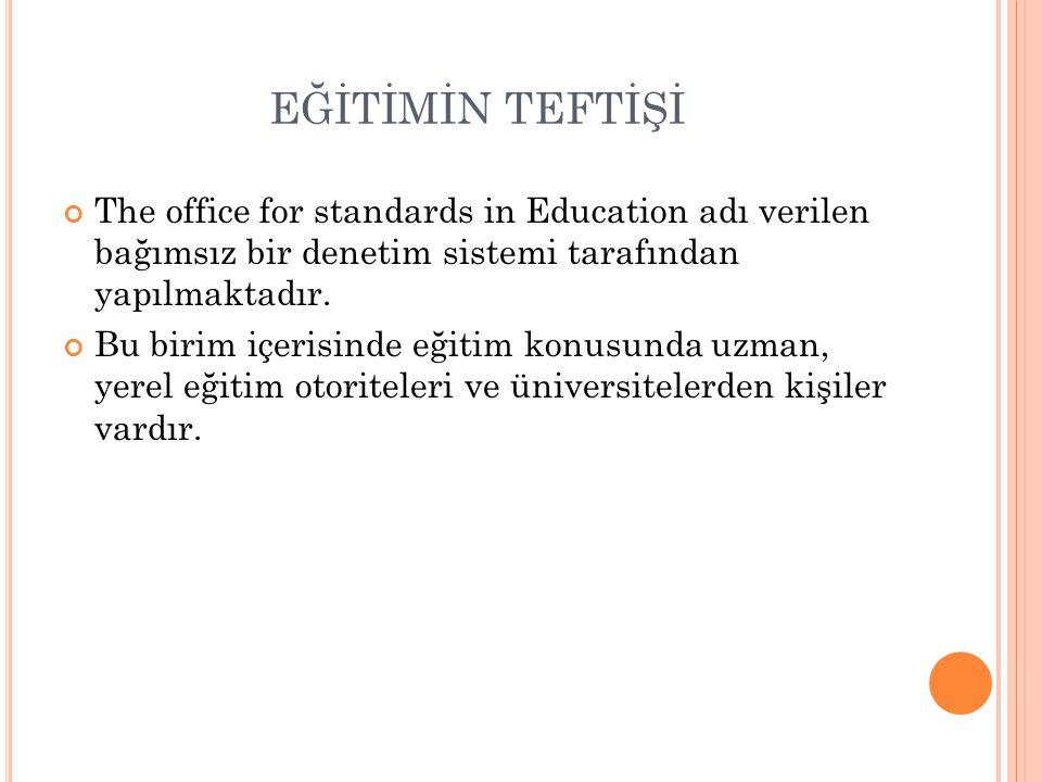 EĞİTİMİN TEFTİŞİ The office for standards in Education adı verilen bağımsız bir denetim sistemi tarafından yapılmaktadır.