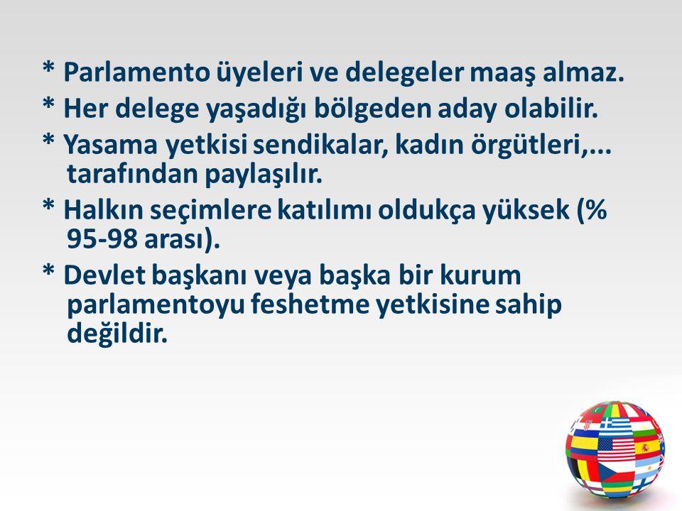 * Parlamento üyeleri ve delegeler maaş almaz.