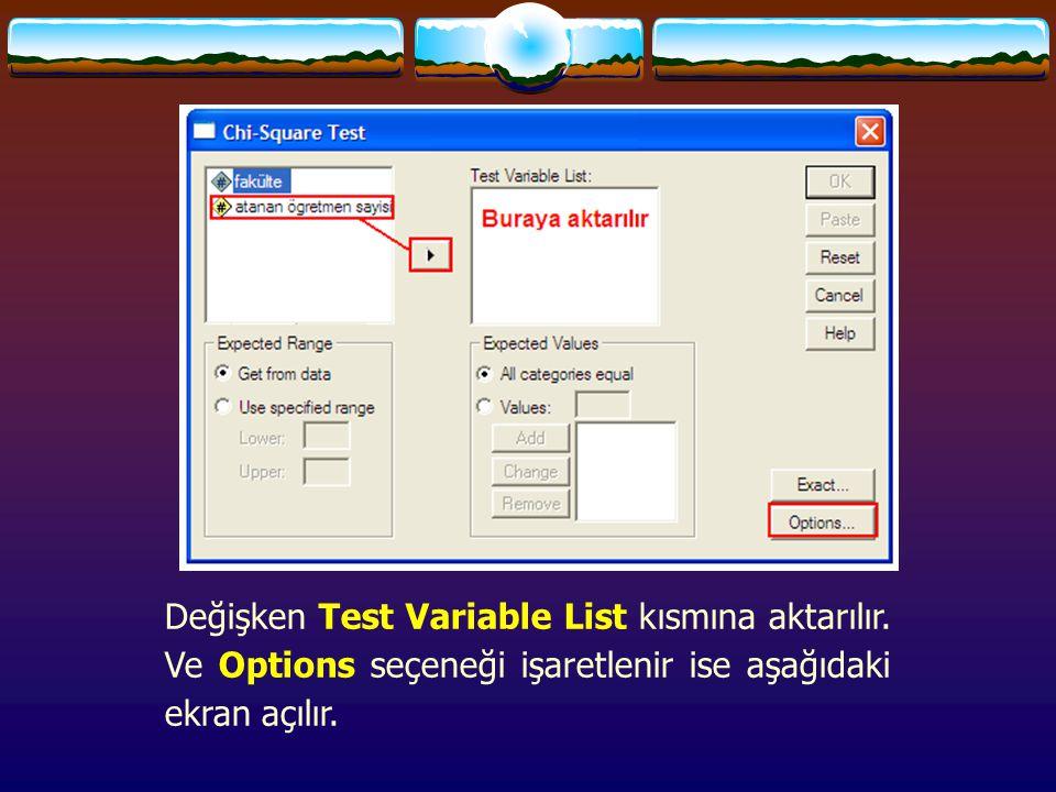Değişken Test Variable List kısmına aktarılır