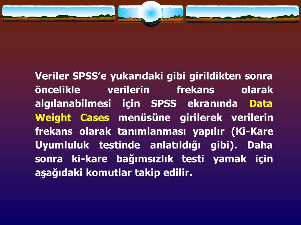 Veriler SPSS'e yukarıdaki gibi girildikten sonra öncelikle verilerin frekans olarak algılanabilmesi için SPSS ekranında Data Weight Cases menüsüne girilerek verilerin frekans olarak tanımlanması yapılır (Ki-Kare Uyumluluk testinde anlatıldığı gibi).