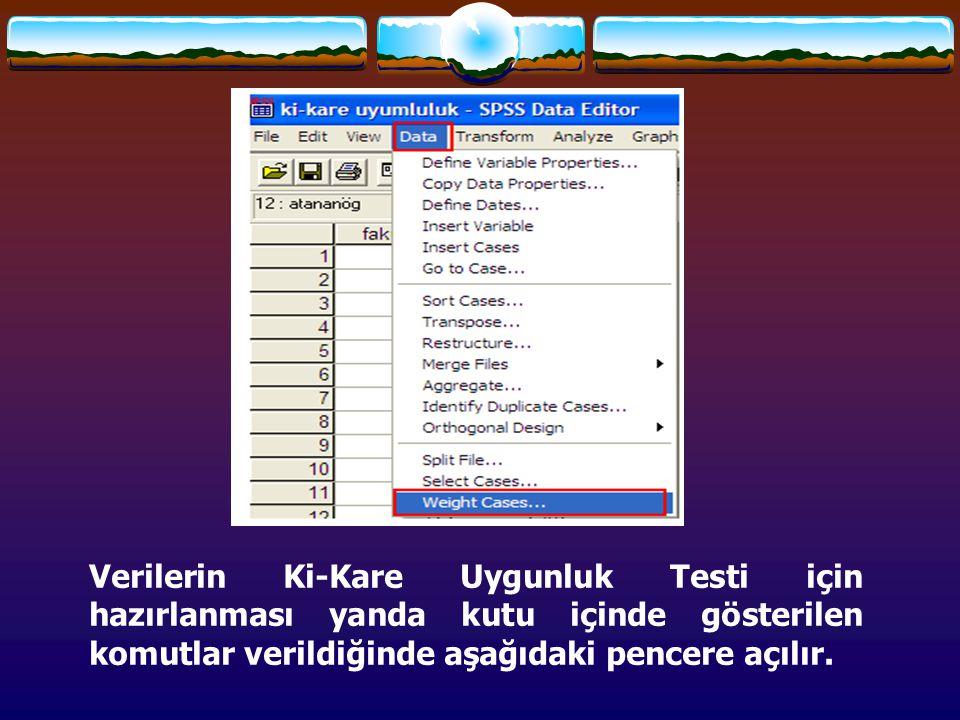 Verilerin Ki-Kare Uygunluk Testi için hazırlanması yanda kutu içinde gösterilen komutlar verildiğinde aşağıdaki pencere açılır.