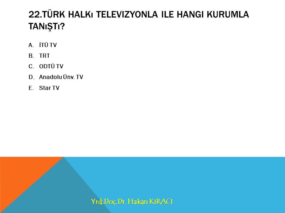 22.Türk Halkı televizyonla ile hangi kurumla tanıştı