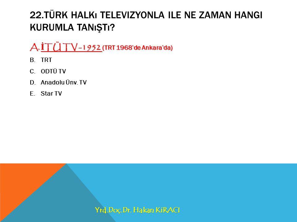 22.Türk Halkı televizyonla ile ne zaman hangi kurumla tanıştı