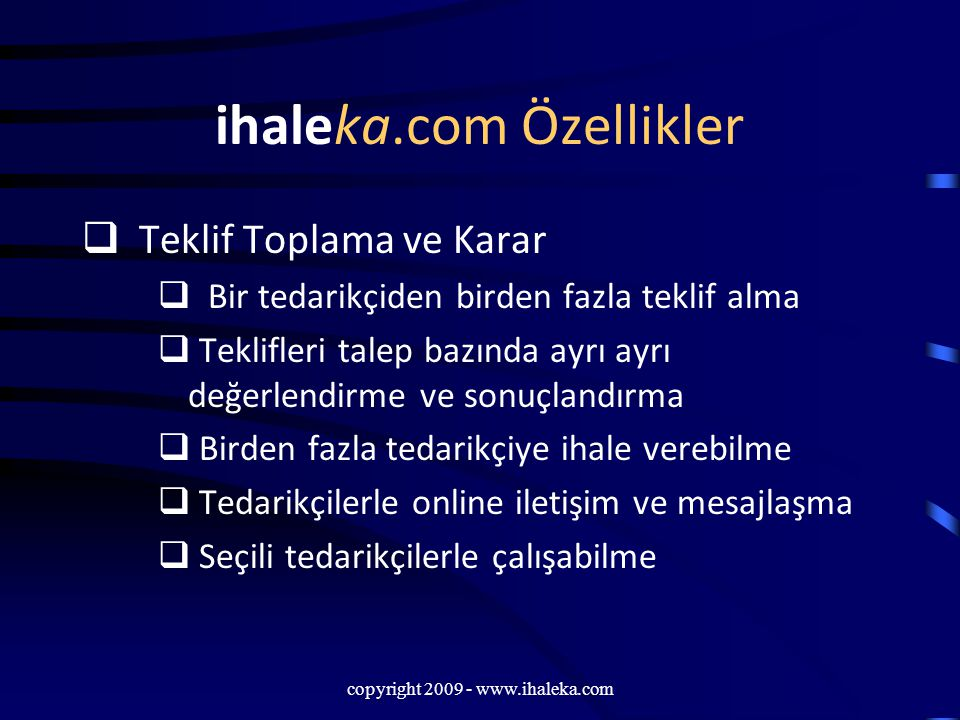 ihaleka.com Özellikler