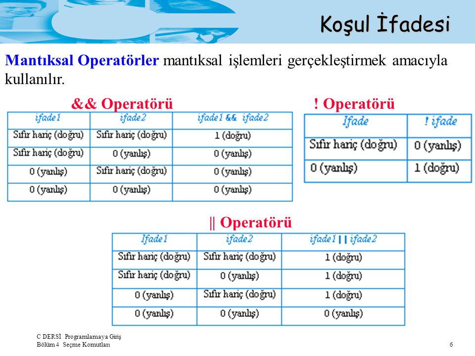 Koşul İfadesi Mantıksal Operatörler mantıksal işlemleri gerçekleştirmek amacıyla kullanılır. && Operatörü.