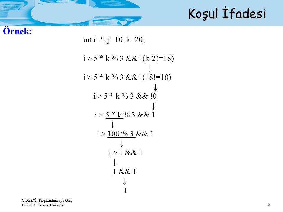 Koşul İfadesi Örnek: int i=5, j=10, k=20;