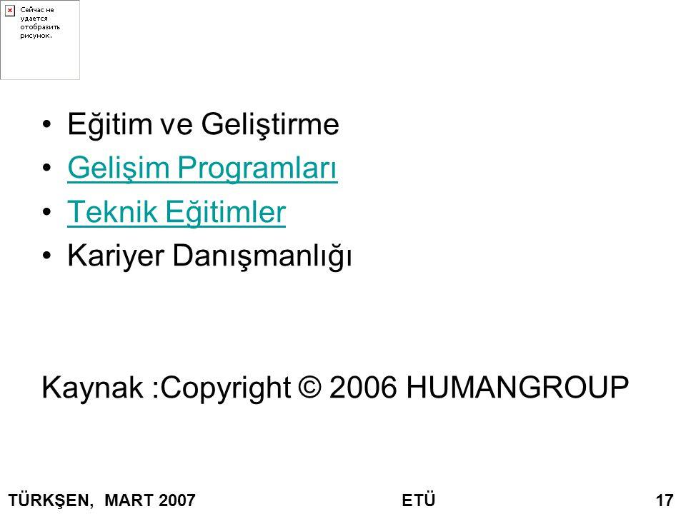 Kaynak :Copyright © 2006 HUMANGROUP