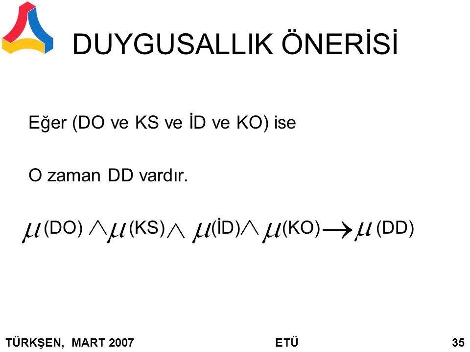 DUYGUSALLIK ÖNERİSİ Eğer (DO ve KS ve İD ve KO) ise O zaman DD vardır.