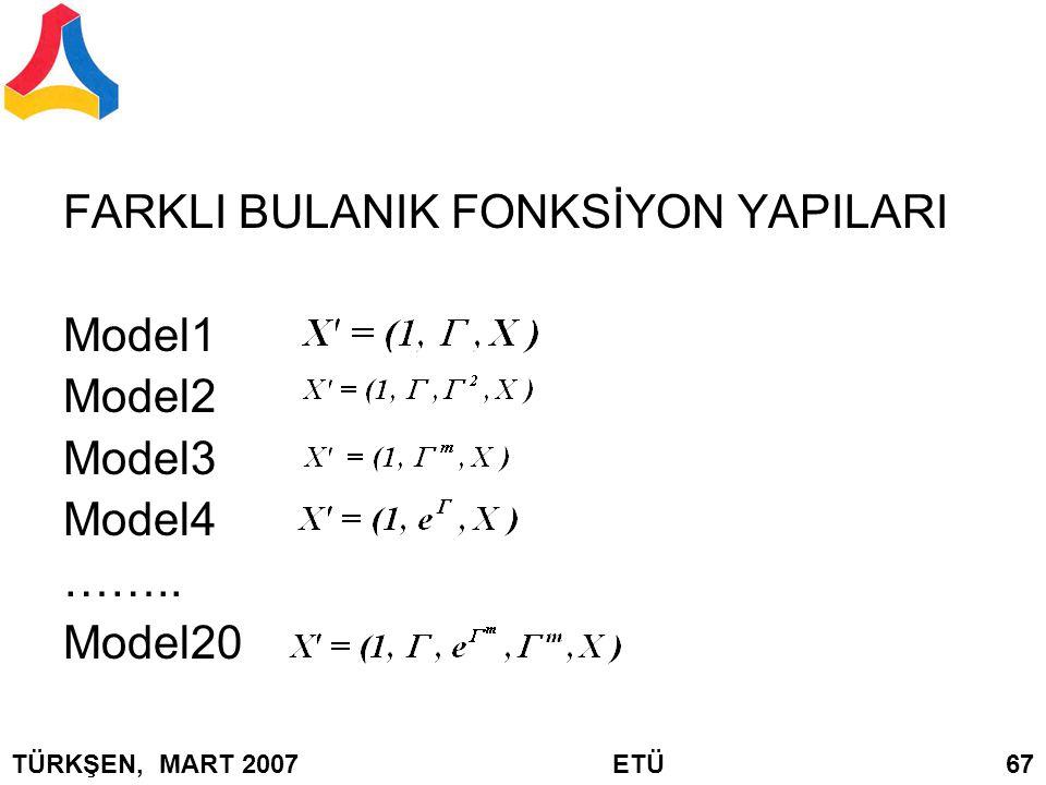 FARKLI BULANIK FONKSİYON YAPILARI Model1 Model2 Model3 Model4 ……..