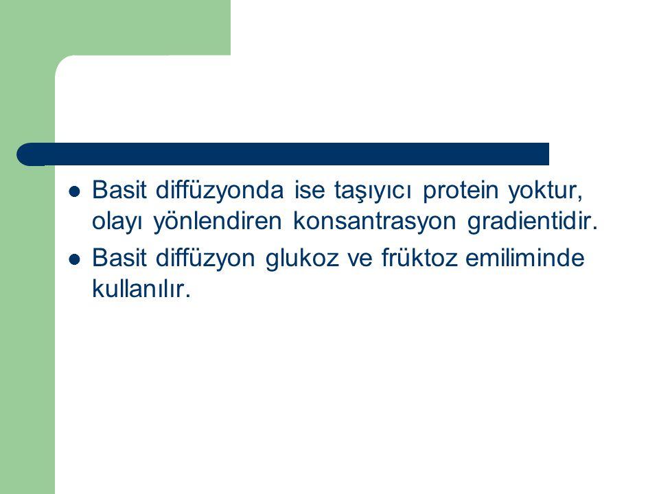 Basit diffüzyonda ise taşıyıcı protein yoktur, olayı yönlendiren konsantrasyon gradientidir.