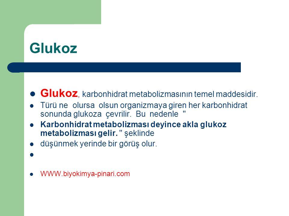 Glukoz Glukoz, karbonhidrat metabolizmasının temel maddesidir.