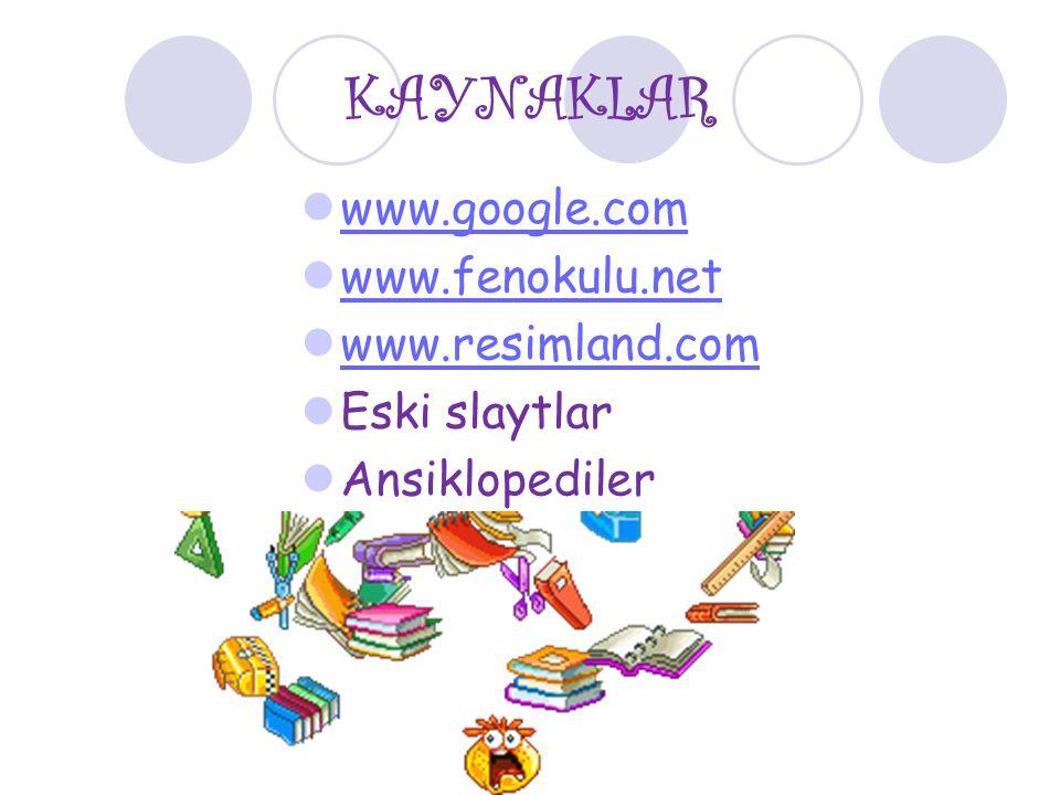 KAYNAKLAR www.google.com www.fenokulu.net www.resimland.com