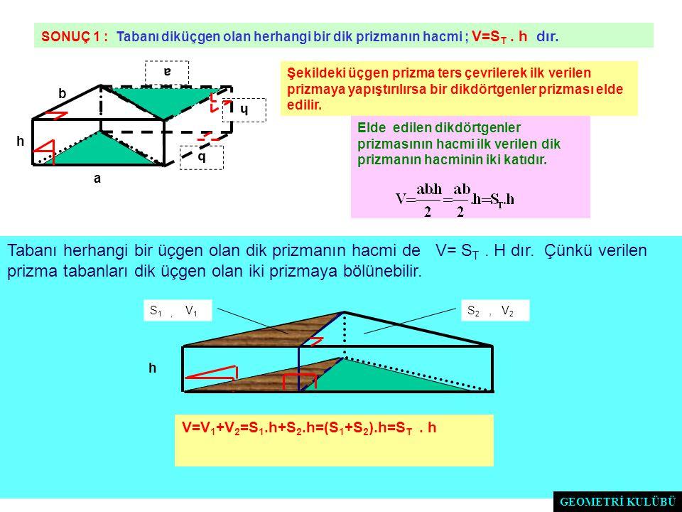SONUÇ 1 : Tabanı diküçgen olan herhangi bir dik prizmanın hacmi ; V=ST