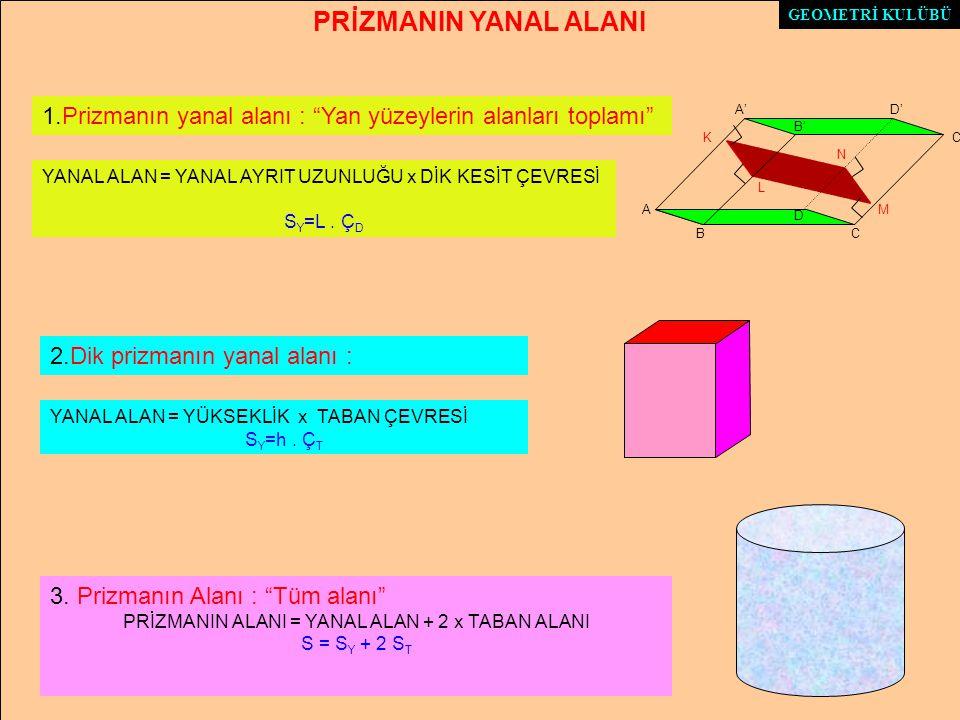 PRİZMANIN ALANI = YANAL ALAN + 2 x TABAN ALANI