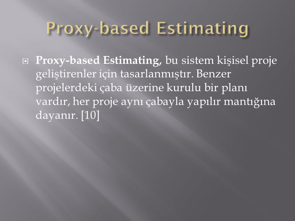 Proxy-based Estimating