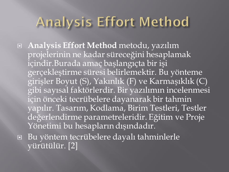 Analysis Effort Method