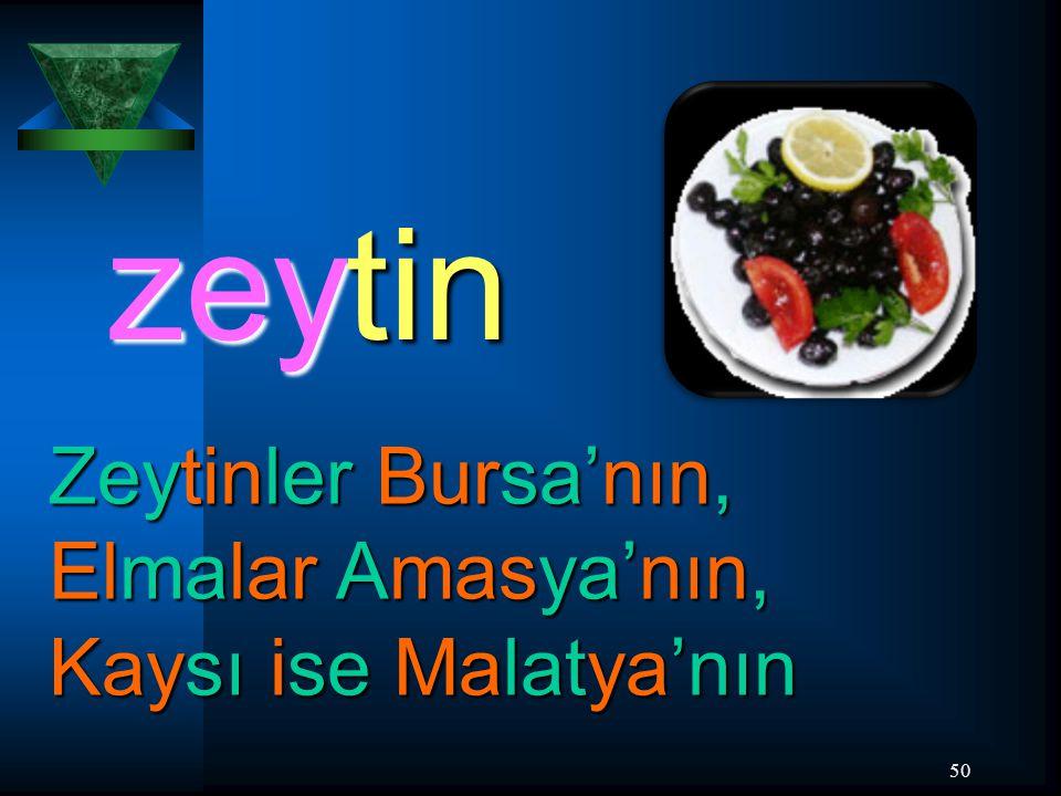 zeytin Zeytinler Bursa'nın, Elmalar Amasya'nın, Kaysı ise Malatya'nın