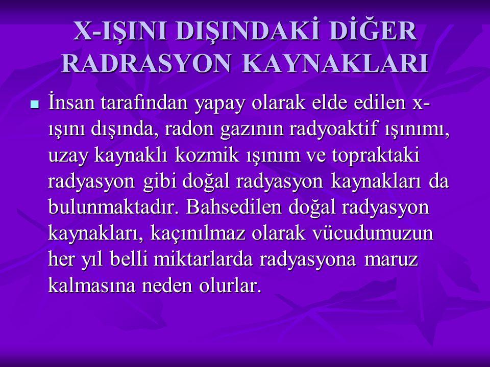 X-IŞINI DIŞINDAKİ DİĞER RADRASYON KAYNAKLARI