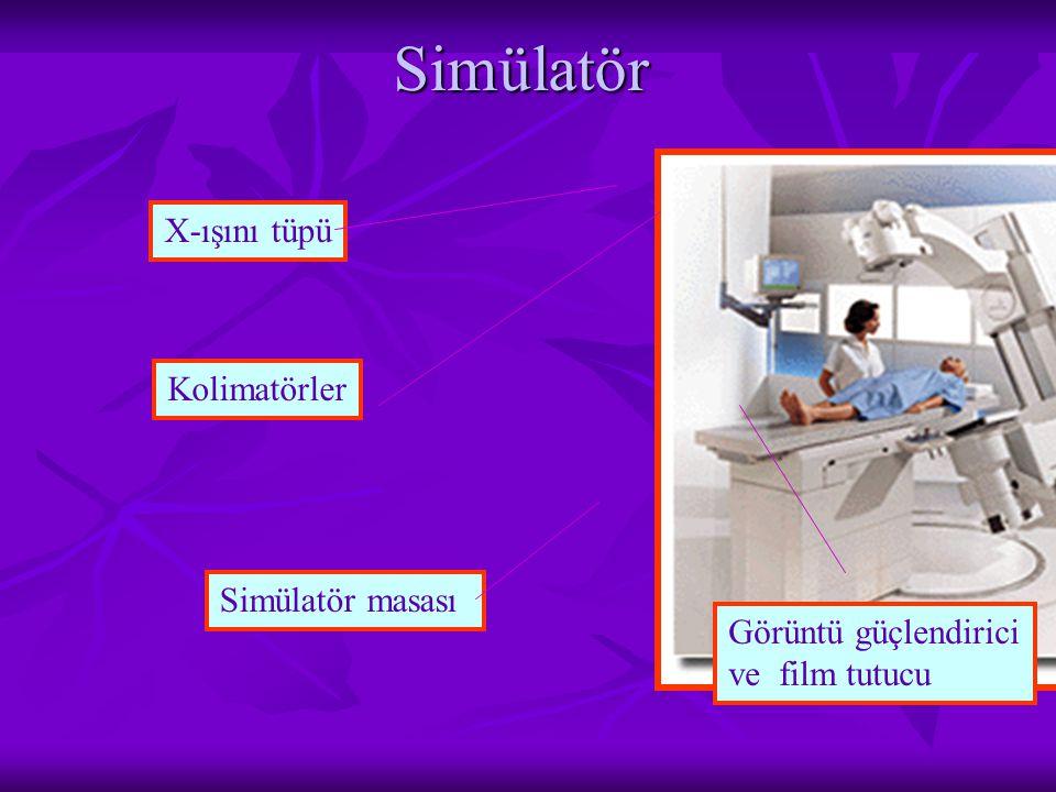 Simülatör X-ışını tüpü Kolimatörler Simülatör masası