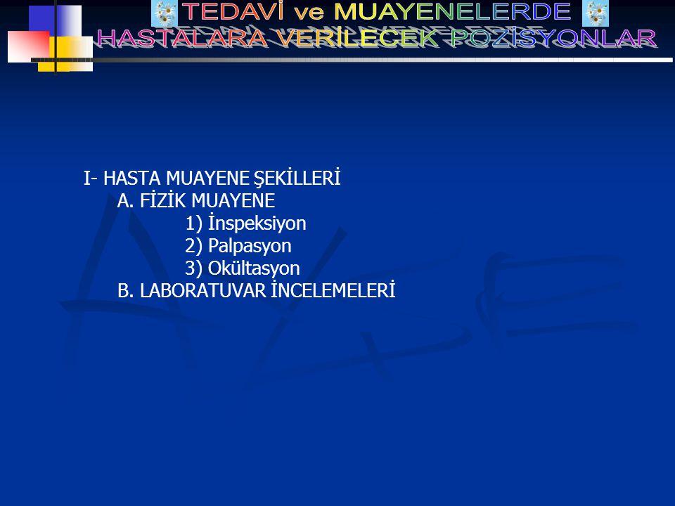 I- HASTA MUAYENE ŞEKİLLERİ