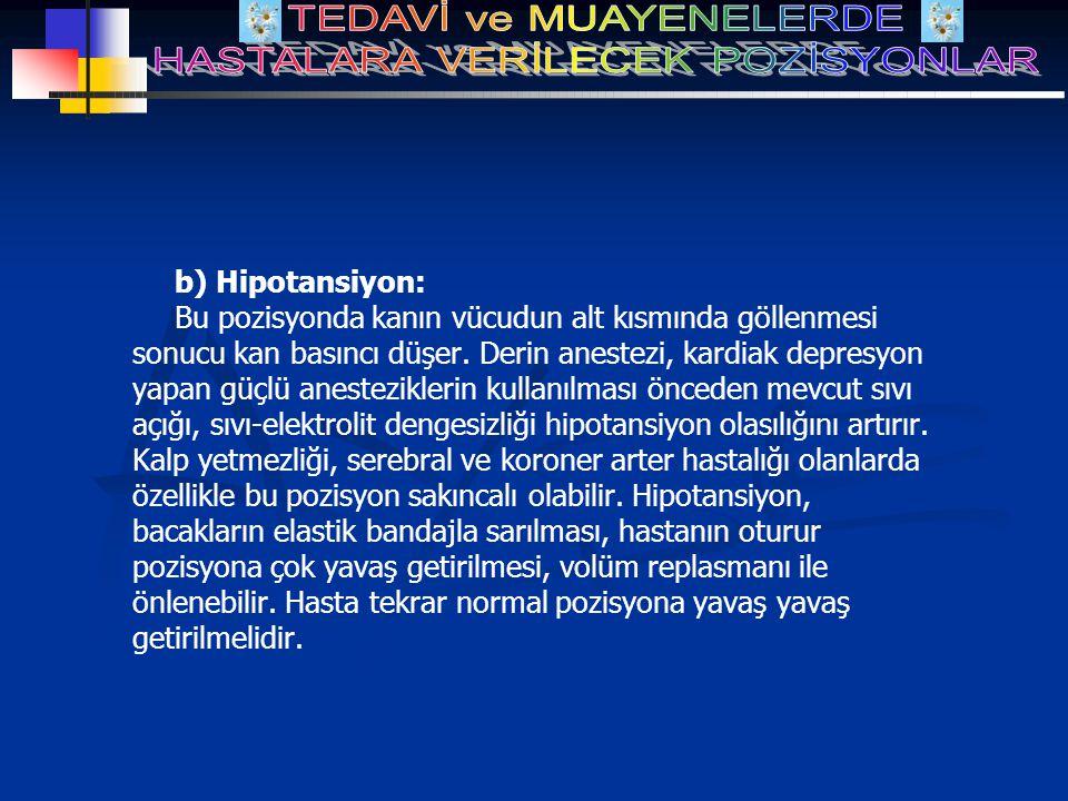 b) Hipotansiyon: