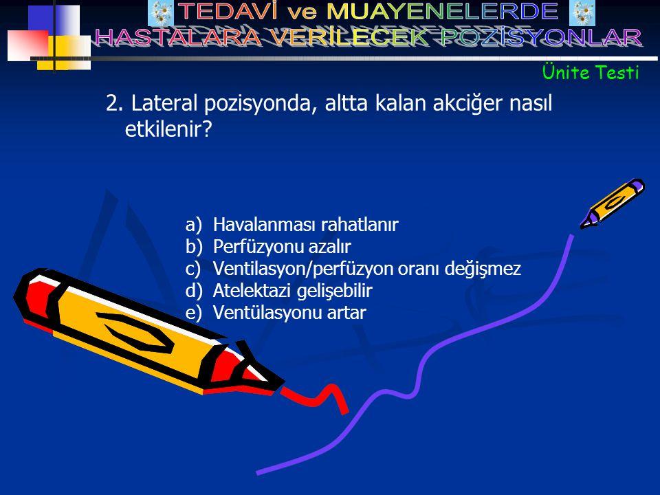 2. Lateral pozisyonda, altta kalan akciğer nasıl etkilenir