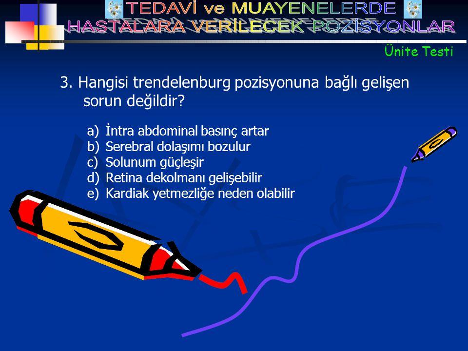3. Hangisi trendelenburg pozisyonuna bağlı gelişen sorun değildir