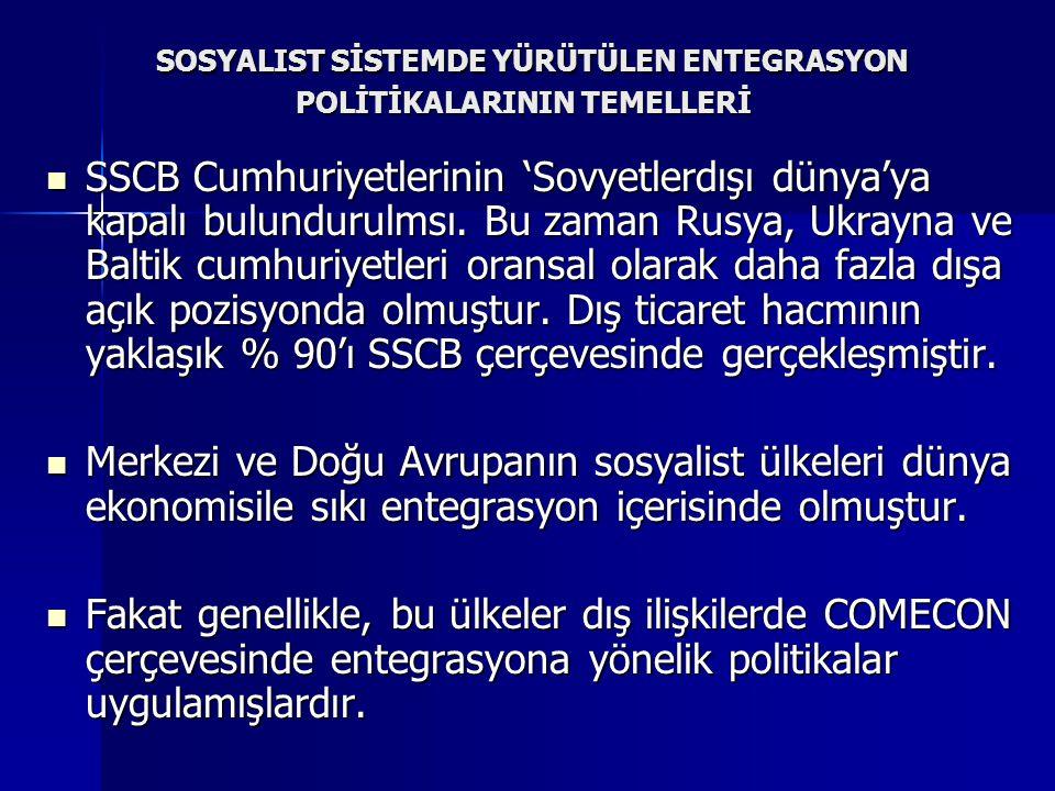 SOSYALIST SİSTEMDE YÜRÜTÜLEN ENTEGRASYON POLİTİKALARININ TEMELLERİ