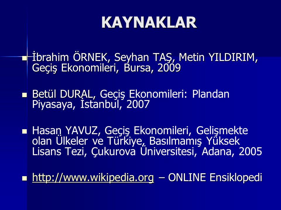 KAYNAKLAR İbrahim ÖRNEK, Seyhan TAŞ, Metin YILDIRIM, Geçiş Ekonomileri, Bursa, 2009.