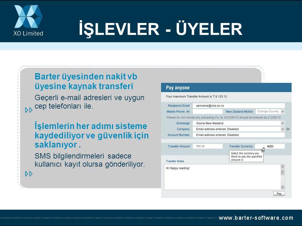 İŞLEVLER - ÜYELER Barter üyesinden nakit vb üyesine kaynak transferi