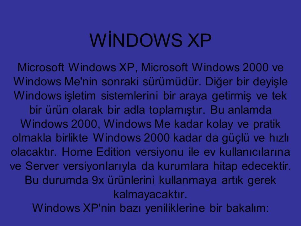 WİNDOWS XP