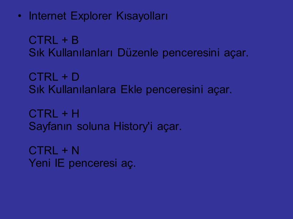 Internet Explorer Kısayolları CTRL + B Sık Kullanılanları Düzenle penceresini açar.