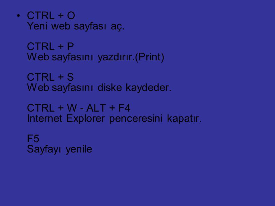 CTRL + O Yeni web sayfası aç. CTRL + P Web sayfasını yazdırır