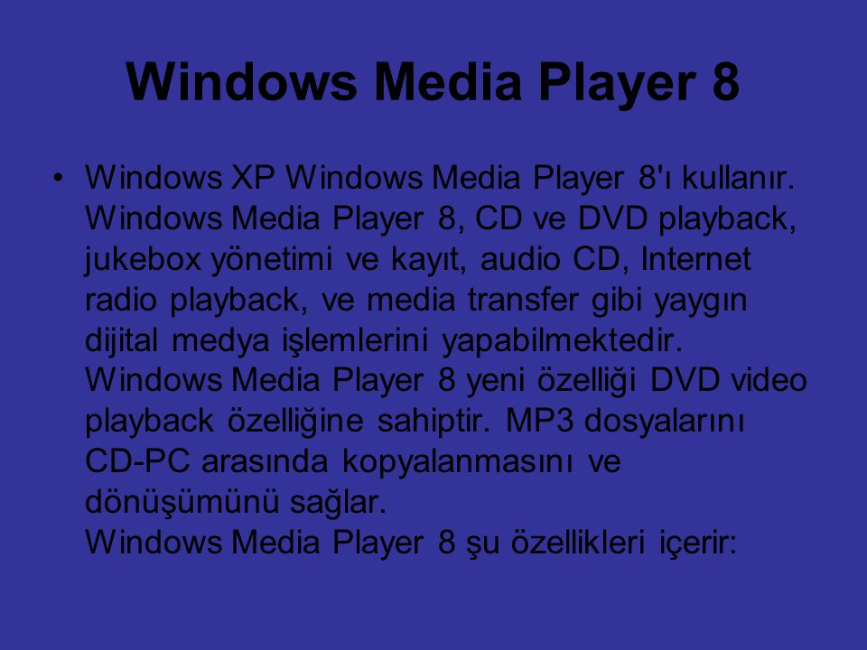 Windows Media Player 8
