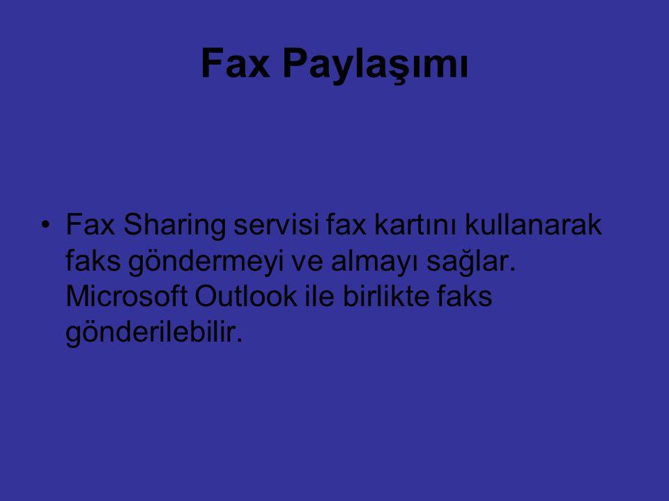 Fax Paylaşımı Fax Sharing servisi fax kartını kullanarak faks göndermeyi ve almayı sağlar.