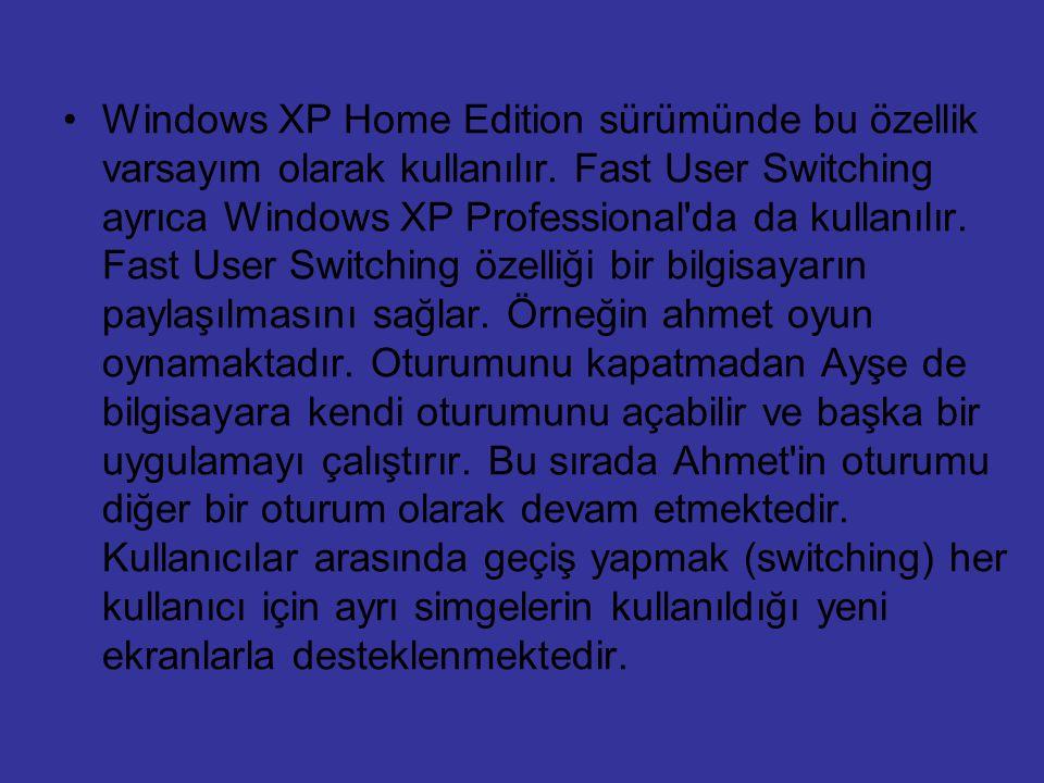 Windows XP Home Edition sürümünde bu özellik varsayım olarak kullanılır.
