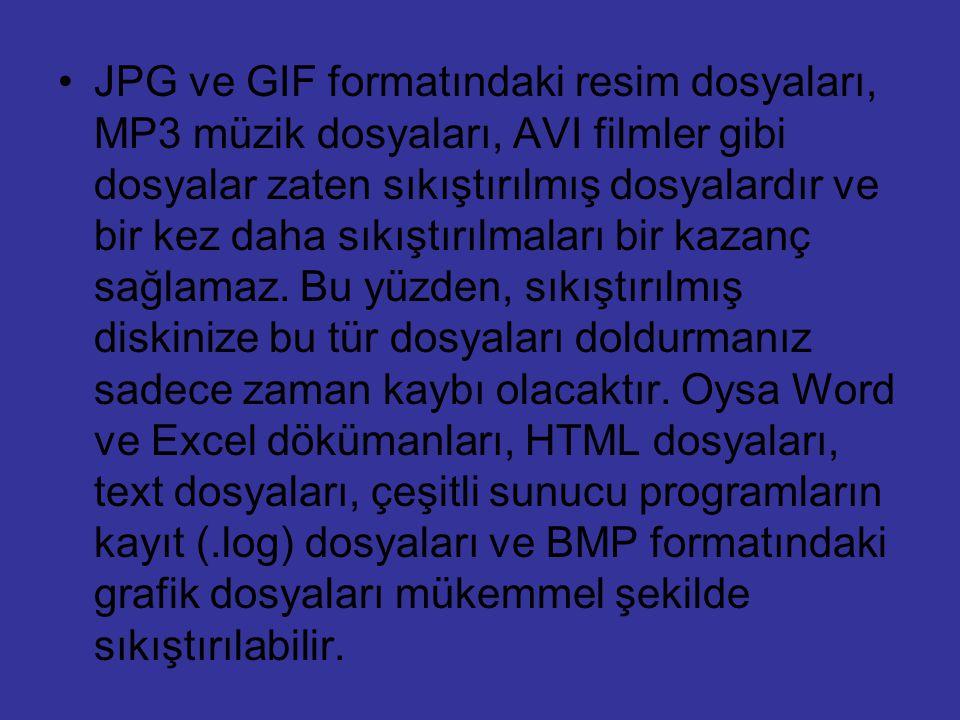 JPG ve GIF formatındaki resim dosyaları, MP3 müzik dosyaları, AVI filmler gibi dosyalar zaten sıkıştırılmış dosyalardır ve bir kez daha sıkıştırılmaları bir kazanç sağlamaz.