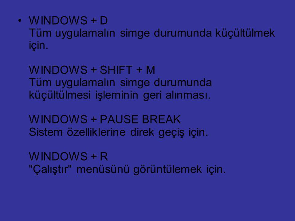WINDOWS + D Tüm uygulamalın simge durumunda küçültülmek için
