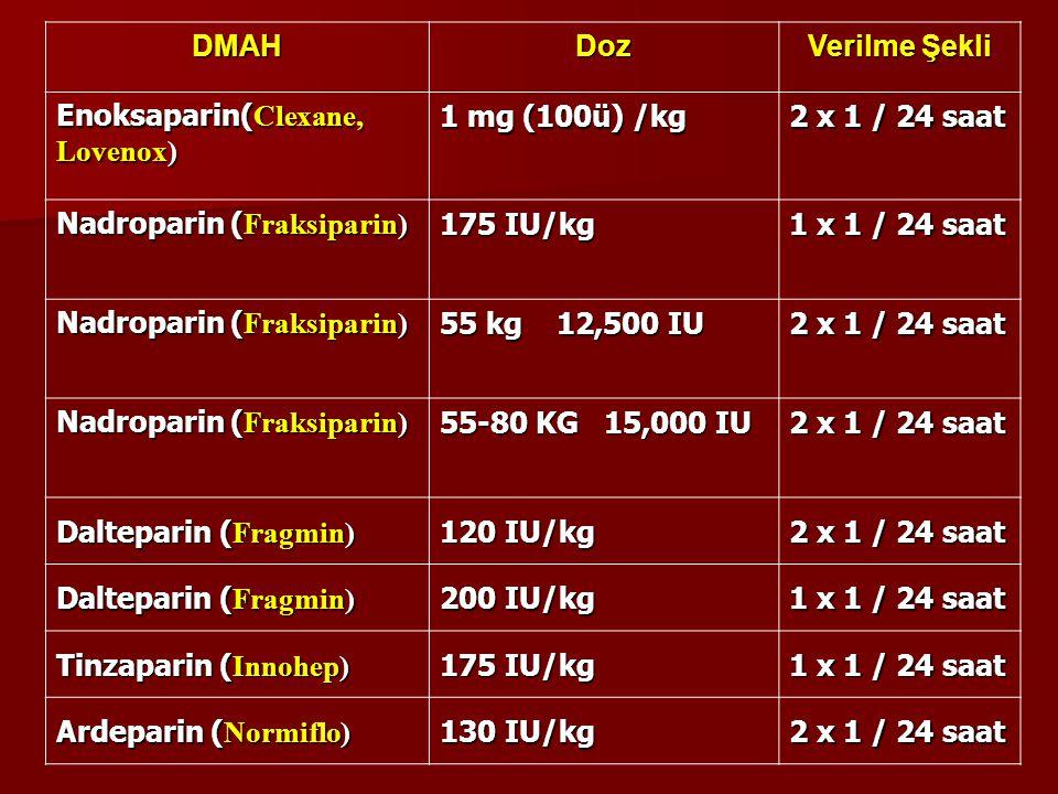 DMAH Doz. Verilme Şekli. Enoksaparin(Clexane, Lovenox) 1 mg (100ü) /kg. 2 x 1 / 24 saat. Nadroparin (Fraksiparin)