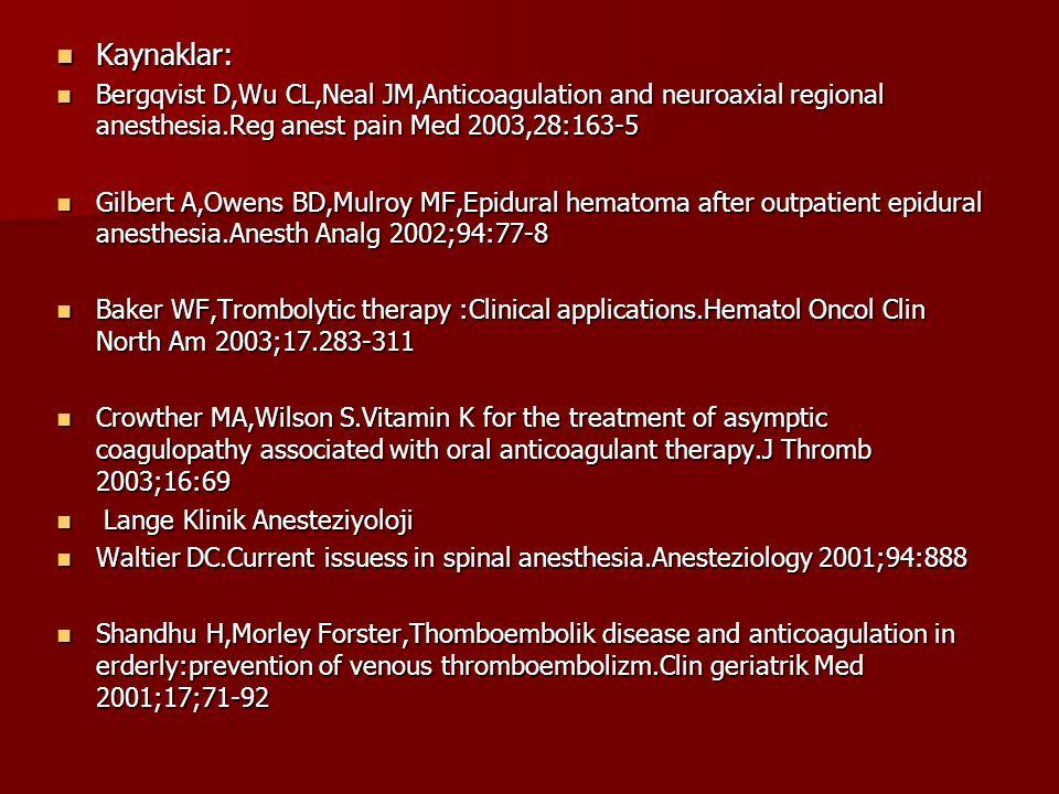 Kaynaklar: Bergqvist D,Wu CL,Neal JM,Anticoagulation and neuroaxial regional anesthesia.Reg anest pain Med 2003,28:163-5.