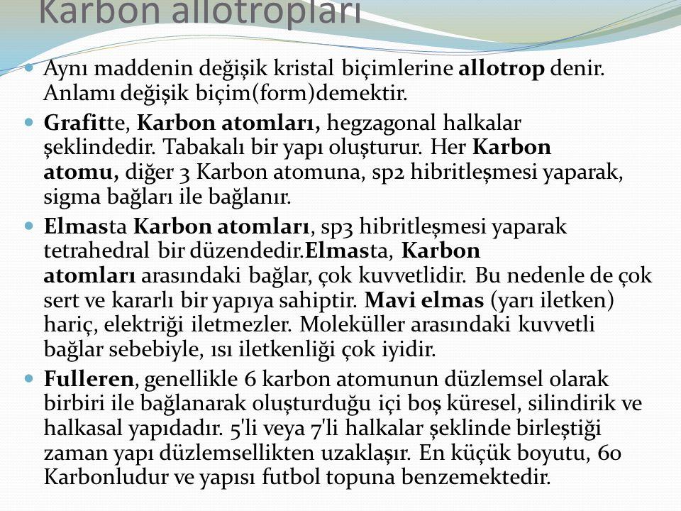Karbon allotropları Aynı maddenin değişik kristal biçimlerine allotrop denir. Anlamı değişik biçim(form)demektir.