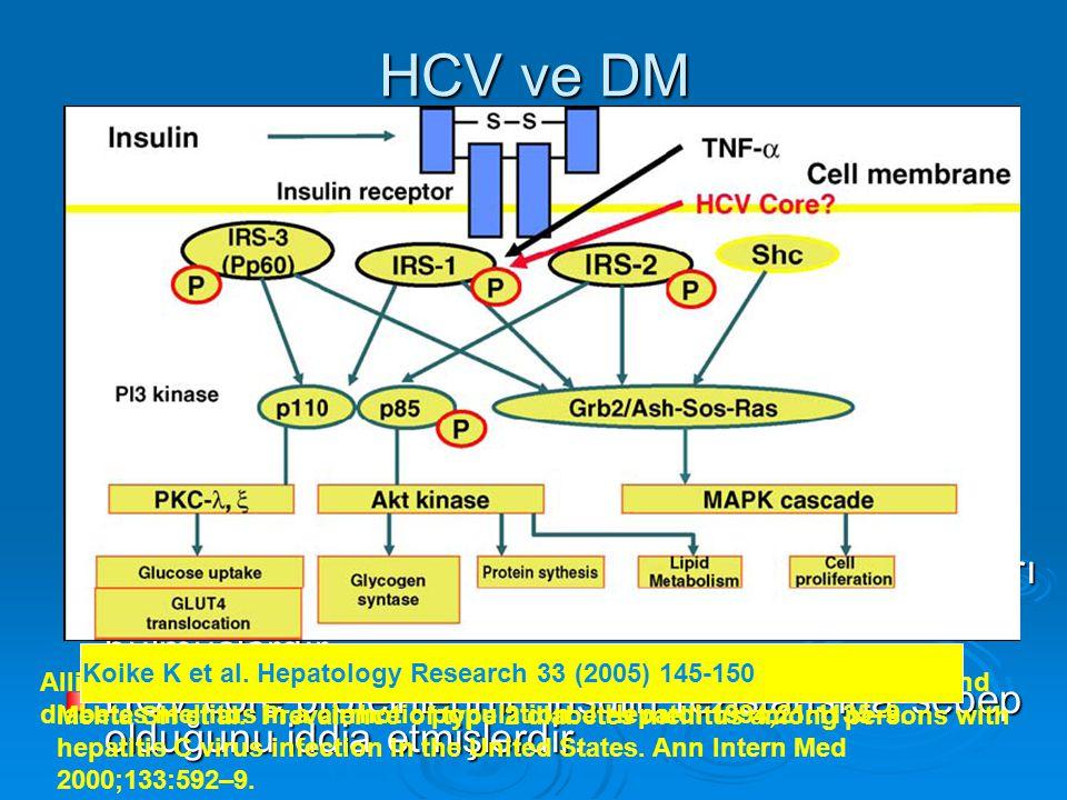 HCV ve DM Bu iki antite arasındaki birliktelik Allison ve ark. Tarafından HCV sirotik bir populasyonda ileri sürüldü.