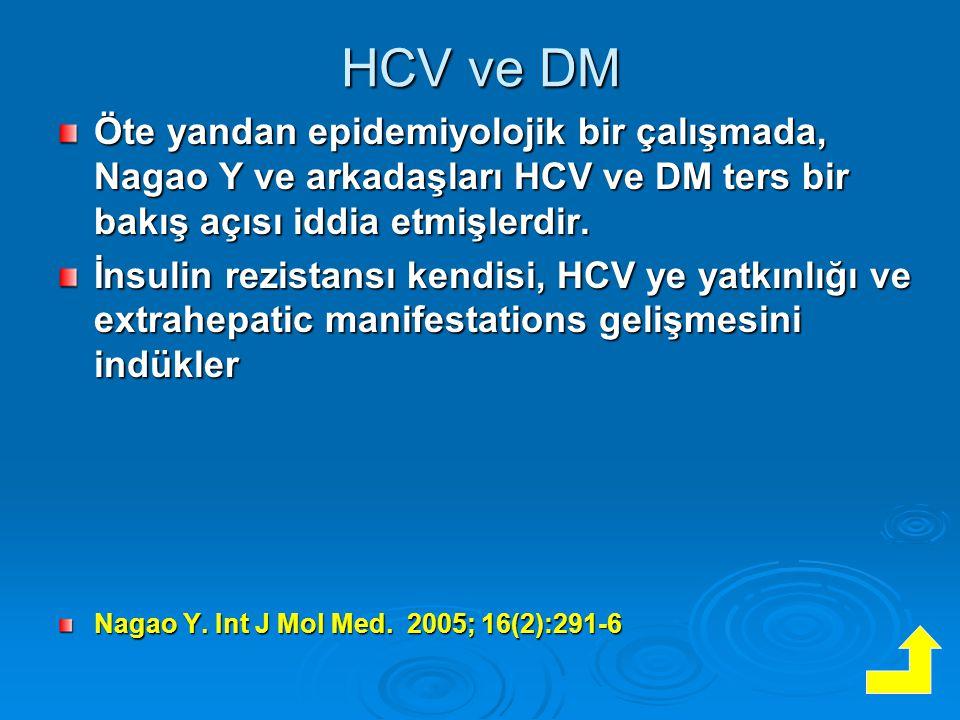 HCV ve DM Öte yandan epidemiyolojik bir çalışmada, Nagao Y ve arkadaşları HCV ve DM ters bir bakış açısı iddia etmişlerdir.