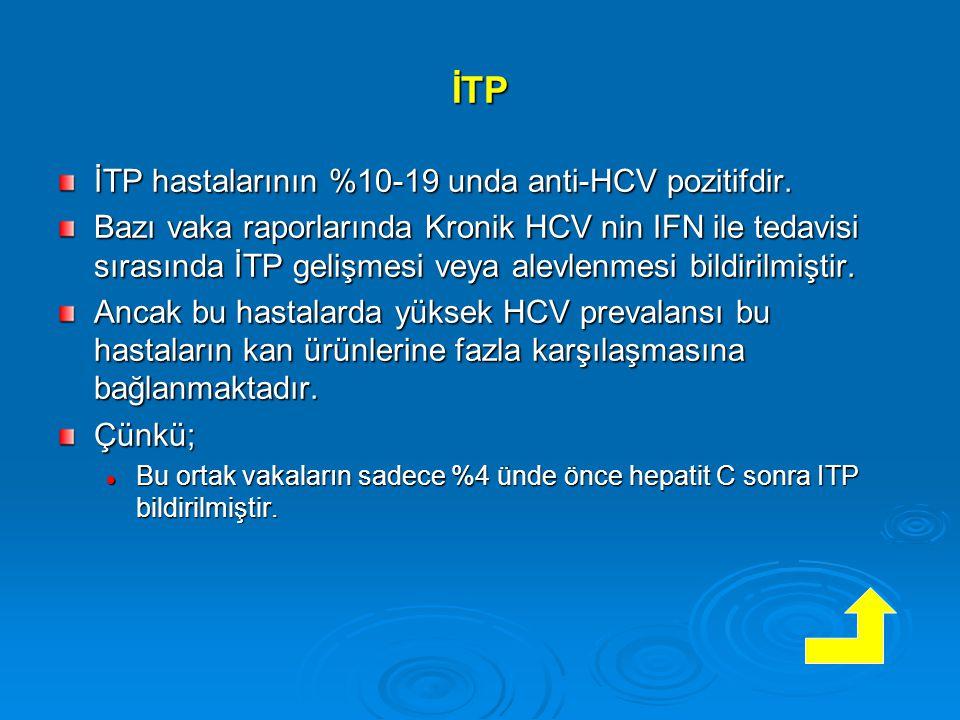 İTP İTP hastalarının %10-19 unda anti-HCV pozitifdir.