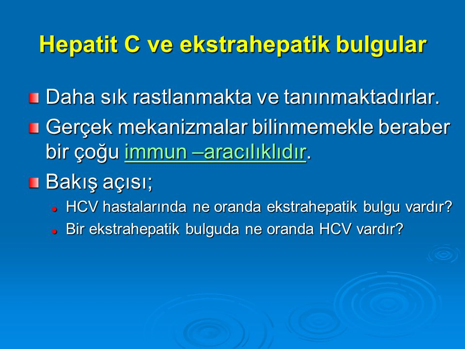 Hepatit C ve ekstrahepatik bulgular