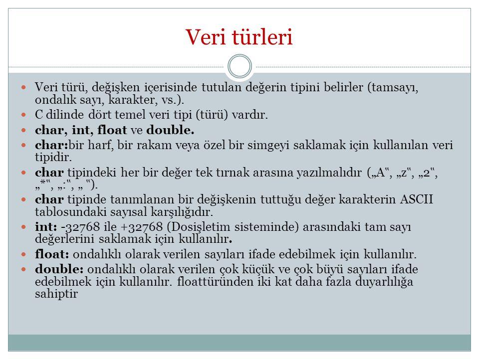 Veri türleri Veri türü, değişken içerisinde tutulan değerin tipini belirler (tamsayı, ondalık sayı, karakter, vs.).