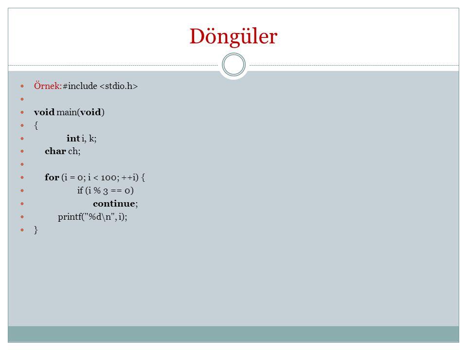 Döngüler Örnek:#include <stdio.h> void main(void) { int i, k;